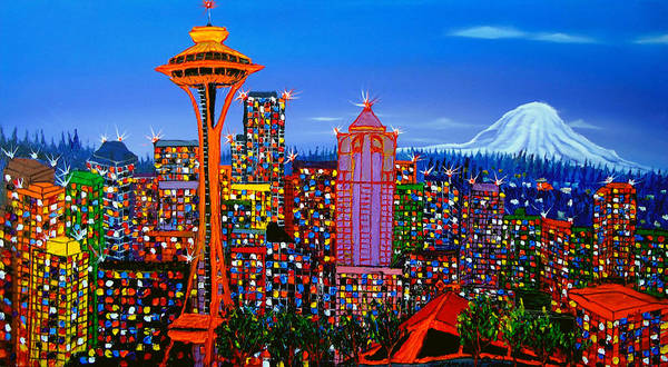 Wall Art - Painting - Seattle Space Needle 5 by Dunbar's Modern Art