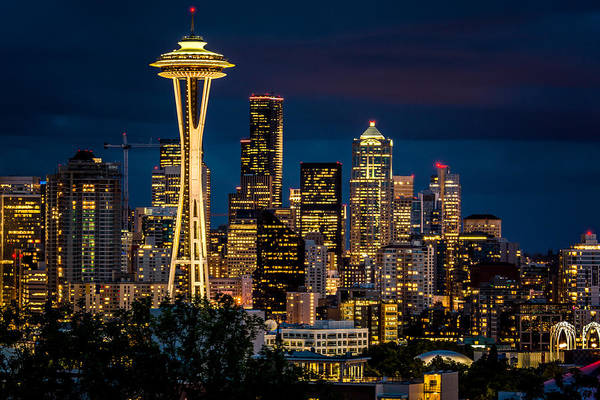 Photograph - Seattle Space Needle After Dark by Claudia Abbott