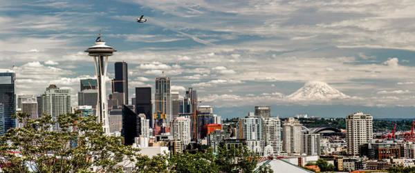 Wall Art - Photograph - Seattle Space Needle With Mt. Rainier by Tony Locke