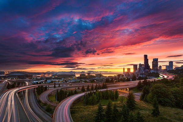 Interstate 5 Wall Art - Photograph - Seattle Summer Sunset by Thorsten Scheuermann