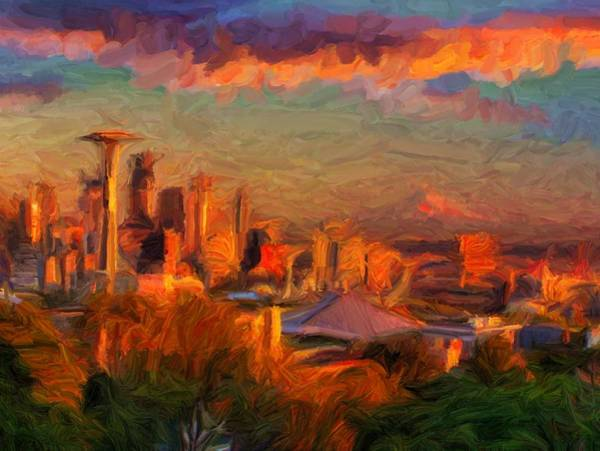 Digital Art - Seattle Sunset 1 by Caito Junqueira