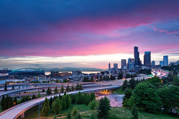 Interstate 5 Wall Art - Photograph - Seattle Sunset by Thorsten Scheuermann