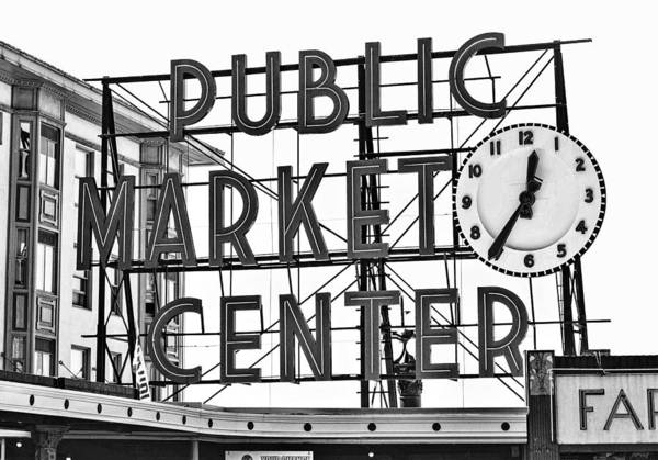 Elliot Bay Wall Art - Photograph - Seattle Vintage Pike Place Market by Daniel Hagerman