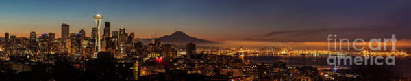 Elliot Bay Wall Art - Photograph - Seattle Warm Sunrise From Kerry Park by Mike Reid