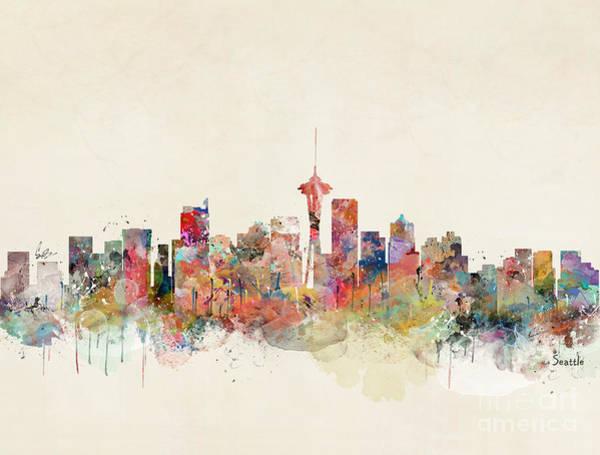 World Cities Painting - Seattle Washington by Bri Buckley