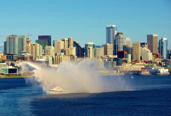 Photograph - Seattle Water Fire Boat With Skyline by Phyllis Spoor