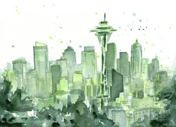 Needles Wall Art - Painting - Seattle Watercolor by Olga Shvartsur