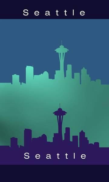 Digital Art - Seattle.blue.1 by Alberto RuiZ