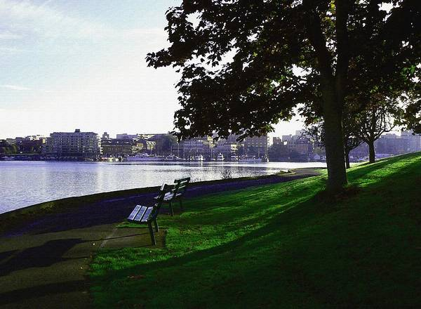 Photograph - Seawall Strolling At Daybreak Victoria Bc by Barbara St Jean