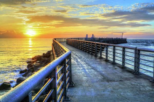 Photograph - Sebastian Inlet Pier Along Melbourne Beach by Carol Montoya