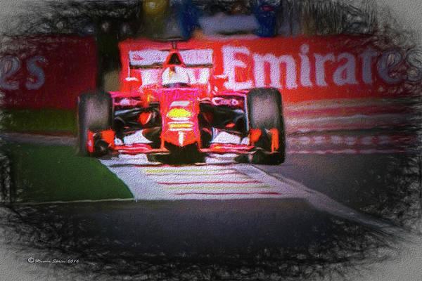 Sunny Mixed Media - Sebastian Vettel's Ferrari by Marvin Spates