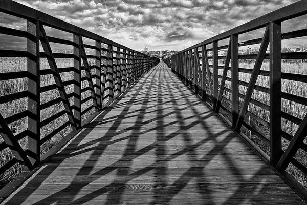 Photograph - Secaucus Nj Greenway Trail Bw by Susan Candelario