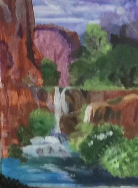 Wall Art - Painting - Secluded Canyon Waterfall by Julie Thomas-Zucker