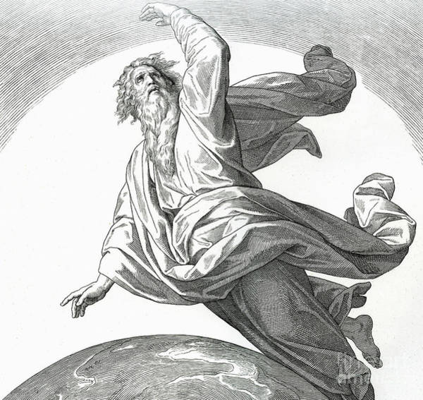 Father Sky Wall Art - Drawing - Second Day Of Creation, Genesis by Julius Schnorr von Carolsfeld
