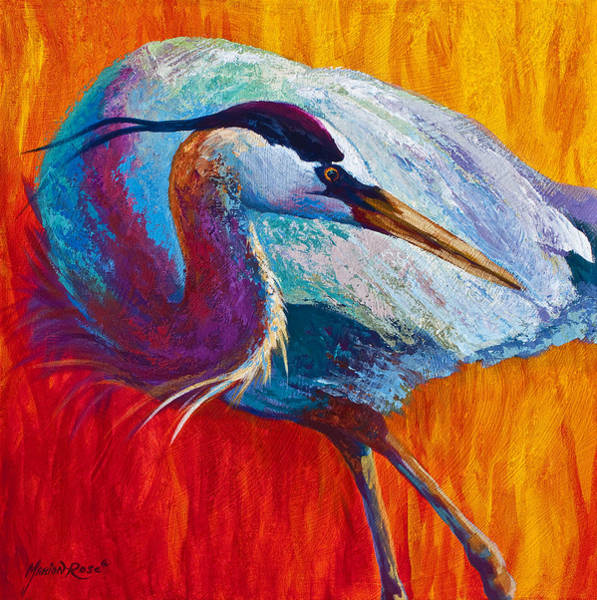 Nest Wall Art - Painting - Second Glance - Great Blue Heron by Marion Rose