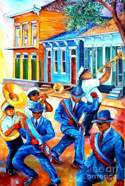 Trombone Wall Art - Painting - Second Line In Treme by Diane Millsap