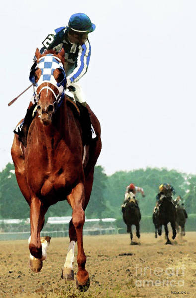 Le Mans 24 Painting - Secretariat Winning The Belmont Stakes, Jockey Ron Turcotte Looking Back, 1973 by Thomas Pollart