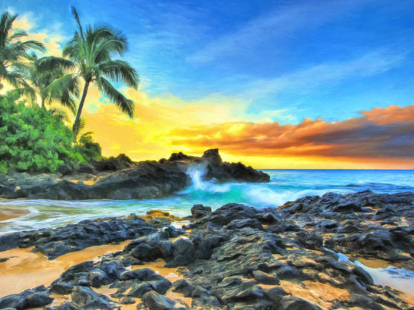 Painting - Secret Cove Sunrise Maui by Dominic Piperata