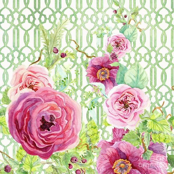 Wall Art - Painting - Secret Garden 2 - Single Peony Fern Hops And Trellis by Audrey Jeanne Roberts