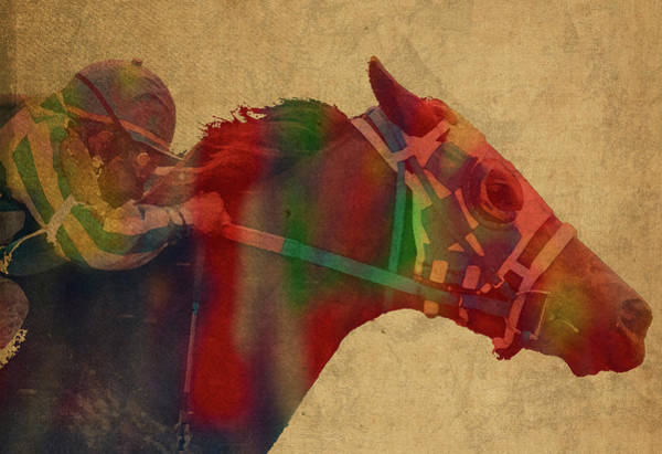 Racing Mixed Media - Secretariat Horse Race Watercolor Portrait by Design Turnpike