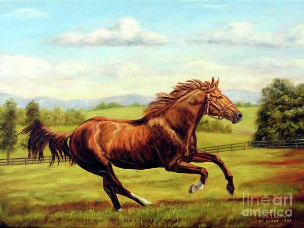 Thoroughbred Racing Wall Art - Painting - Secretariat In Retirement by Tom Chapman