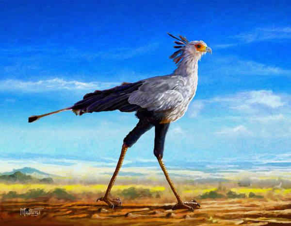 Uganda Painting - Secretary Bird by Anthony Mwangi
