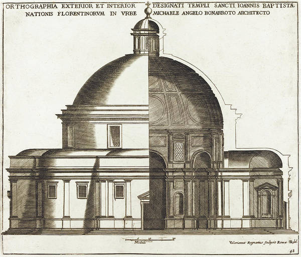 Drawing - Section Of The Church Of Saint John The Baptist by Valerien Regnard
