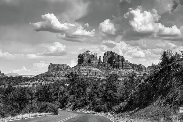 Photograph - Sedona Arizona Black And White Landscape - Cathedral Rock  by Gregory Ballos
