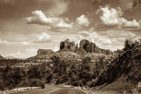 Photograph - Sedona Arizona Sepia Landscape - Cathedral Rock  by Gregory Ballos