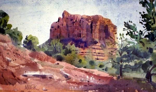 Butte Wall Art - Painting - Sedona Butte by Donald Maier