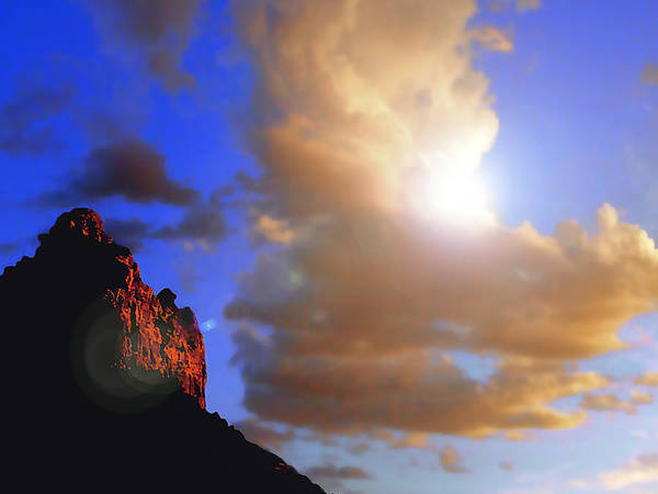 Photograph - Sedona Mountain Cloud Sun by Roger Bester