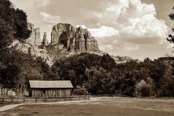 Photograph - Sedona Mountain Landscape - Sepia Edition by Gregory Ballos