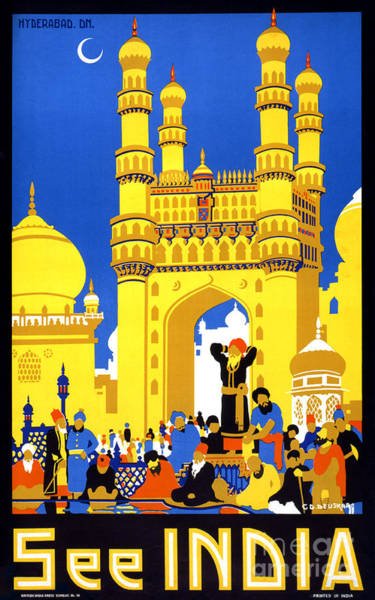 Wall Art - Painting - See India Vintage Travel Poster Restored by Vintage Treasure