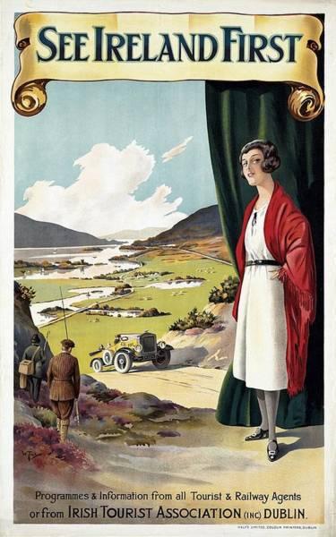Irish Mixed Media - See Ireland First - Irish Tourist Association - Retro Travel Poster - Vintage Poster by Studio Grafiikka
