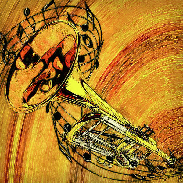 Wall Art - Painting - See The Sound Series Trumpet by Jack Zulli