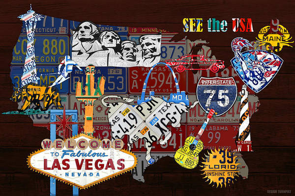 Statue Mixed Media - See The Usa Vintage Travel Map Recycled License Plate Art Of American Landmarks by Design Turnpike