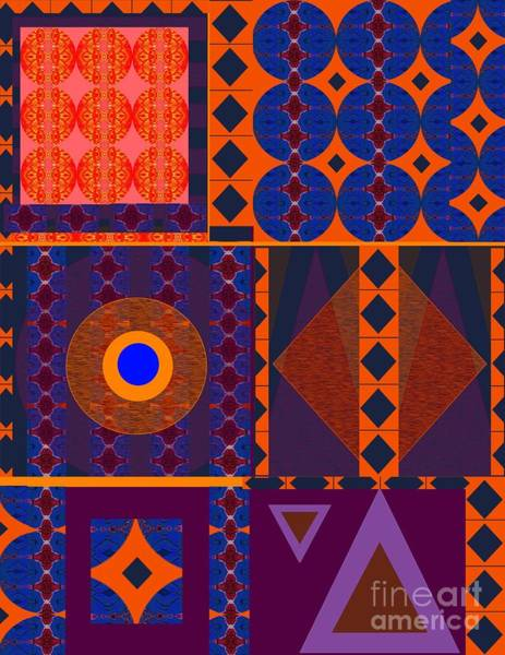 Digital Art - Seeking Unity - In Orange And Purple And Blue by Helena Tiainen