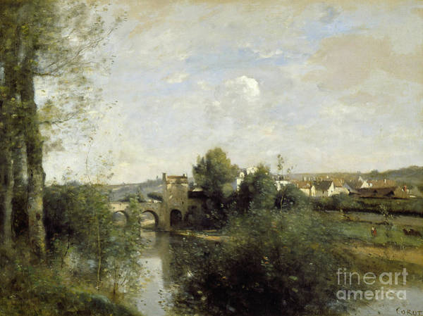 Wall Art - Painting - Seine And Old Bridge At Limay, 1872 by Jean Baptiste Camille Corot