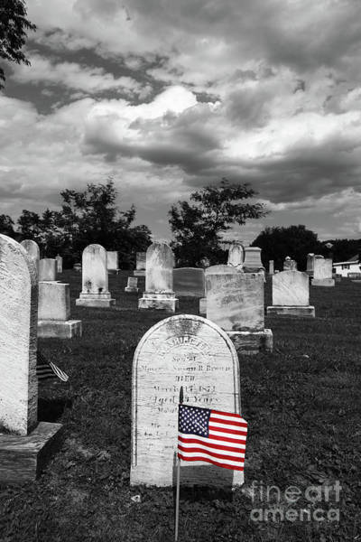 Photograph - Selected Color Flag For Memorial Day In Uniontown Cemetery Maryland by James Brunker