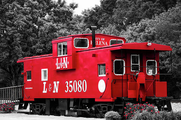 Photograph - Selective Color Red Caboose by Parker Cunningham