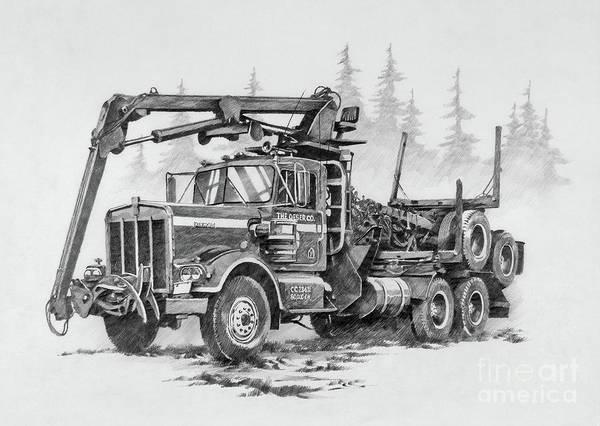 Log Drawing - Self-loading Log Truck by James Williamson