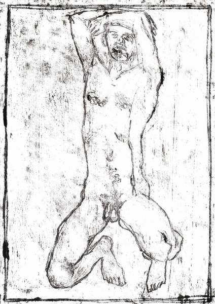 Drawing - Self On Back Male Nude by Artist Dot