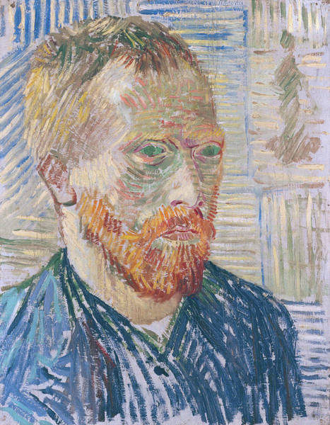 Selfportrait Painting - Self Portrait 1887 With Japanese Print by Vincent Van Gogh