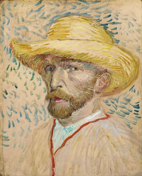 Selfportrait Painting - Self Portrait 1887 With Straw Hat 01 by Vincent Van Gogh