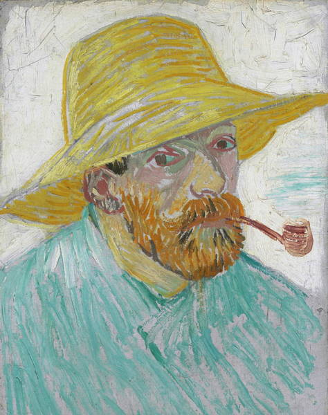 Selfportrait Painting - Self Portrait 1888 With Pipe And Straw Hat by Vincent Van Gogh