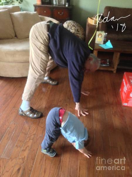 Rights Managed Images Wall Art - Photograph - Self Portrait 8 - Downward Dog With Grandson Max On His 2nd Birthday by Felipe Adan Lerma