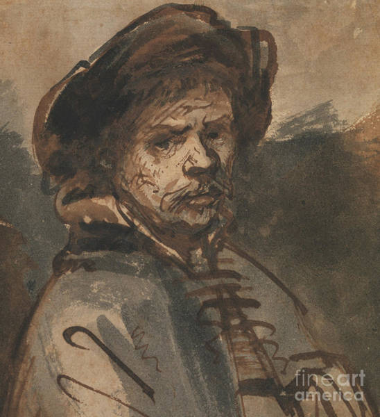 Etching Wall Art - Drawing - Self Portrait By Rembrandt by Rembrandt