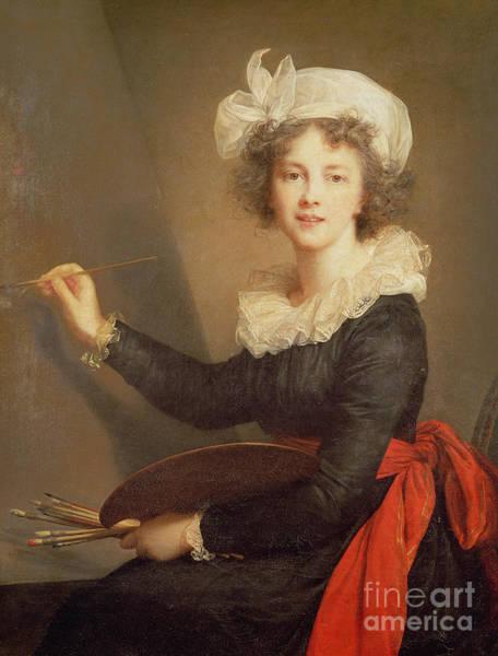 Lace Painting - Self Portrait by Elisabeth Louise Vigee-Lebrun