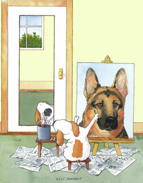 Puppy Painting - Self Portrait, German Shepherd by Jim Tweedy