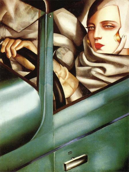Tamara De Lempicka Painting - Self Portrait In A Green Bugatti by Tamara de Lempicka